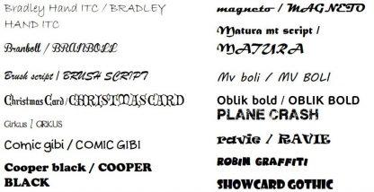 Voorbeeld fonts